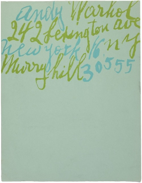 letterheady:  Andy Warhol, date unknown | Submitted by Grace Just stunning. For your consumption, a larger version.