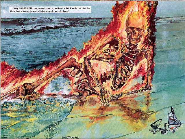 The Marvel Comics Swimsuit Edition via io9 Believe it or not, the Ghost Rider one (above) is the only one that seems sane. Unless The Punisher is your thing … More examples of Marvel characters, male and female, can be found here