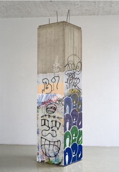 Kristin Posehn Replicant/Graffiti wrap, 2006/07 Photographic prints on paper mounted on a plywood frame, woodscrews