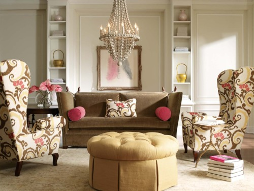 Sassy. Sophisticated. Love the use of color to accent this room. From C.R. Laine.