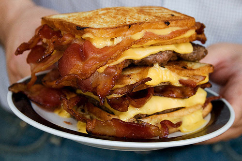 Triple Grilled-Cheese Bacon Burger Nothing but WIN via rachelfrancess