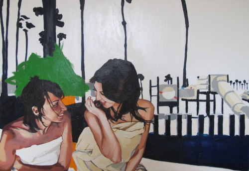 Maddy and Aline, Santa Monica 5'X3.5' oil on canvas