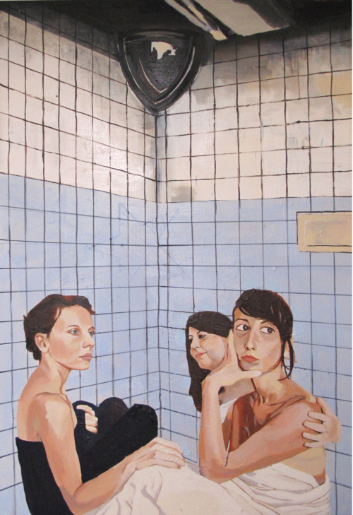 Tiled Corner Campfire (Maddy, Aline, and Fanny) 4'X6' oil on canvas