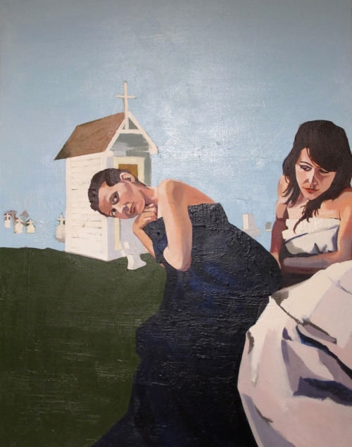 Fanny and Aline, Czech Graveyard 4'X5' oil on canvas