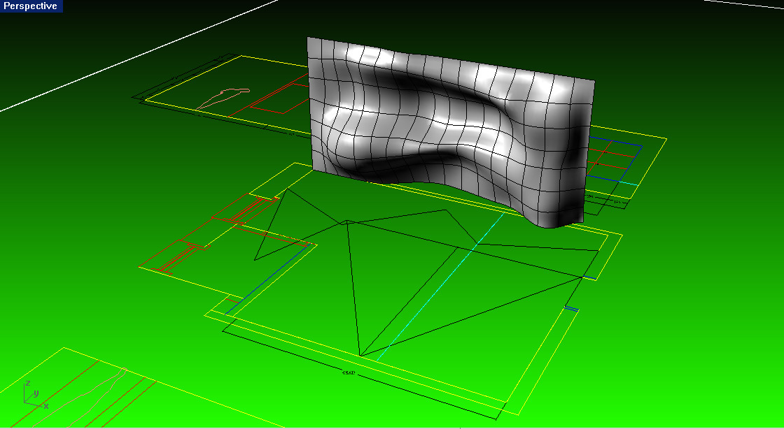 3d digital working model of final installation.  We are using T-Splines + Rhino for nurbs modeling as well as Grasshopper + Rhino for parametric modeling.