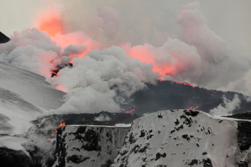 Land of fire and ice. The eruption on Fimmvörðuháls in Iceland in the spring of 2010.