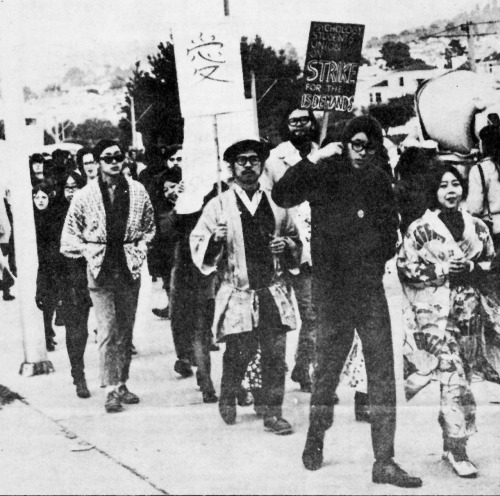 SFSU TWLF Strike Picketline (AAPA Newspaper 1969) In 1968-69, African American, Asian American, Chicano and Native American students at San Francisco State College and University of California, Berkeley organized campus coalitions known as the Third World Liberation Front (TWLF).  TWLF led student strikes demanding the establishment of Third World Colleges comprised of departments of Asian American, African American, Chicano and Native American Studies. Significance of these strikes were twofold: first, minority student were able to unite in solidarity against institutional racism and second, the strikes won the formation of Ethnic Studies programs.