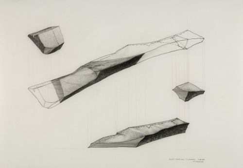 "untitled, basalt shard #2 - 4 segments2011_01_09graphite on polyester drafting film 18"" x 24"" (45.7 x 60.9)cmMatt Niebuhr sometimes, one thing leads to another, sometimes…"