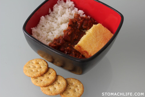 HOME COOKED: Turkey Chilli, Steemed Rice, Cornbread and Roasted Vegetable Crackers Click to Follow: @StomachLife