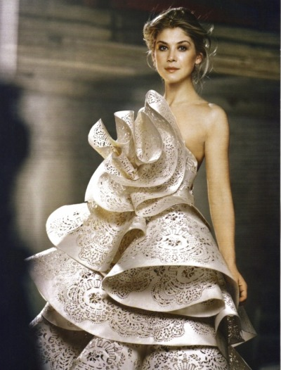 Actress Rosamund Pike wearing a gorgeous Marchesa gown from Spring 2011 collection, from InStyle magazine, February 2011 issue scanned by me