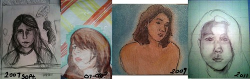 Progress 2007-2011. Jesus. I really dont draw enough. My drawing teacher from my freshman year i bet would be proud. But this is progress, pencil and paper and no digital aids or even tracing. All of these are such drawings.  Not that its bad to trace or use aids or what ever, but its nice to appreciate what you can do.