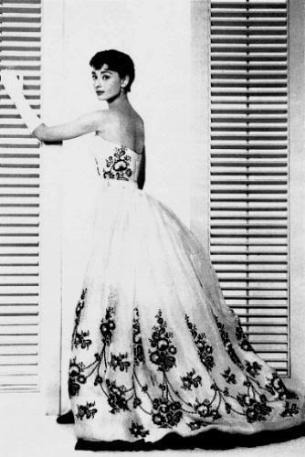 audrey hepburn in a black lace wedding dress.