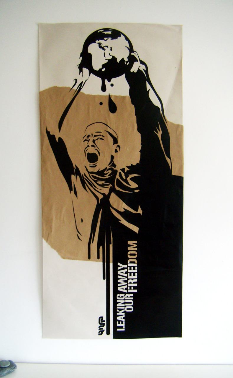 IMHO : LEAKING AWAY OUR FREEDOM | 125cm x 59cmCollage, recycle paper, vinyl self-adhesive.http://www.facebook.com/pages/Imho/178408515517691