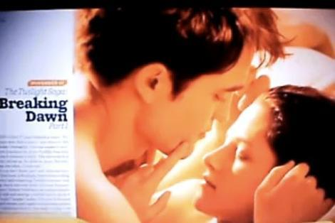 Twilight Breaking Dawn image shows steamy clinch Twihards rejoice – the first still from new Twilight movie Breaking Dawn has been revealed online. And it's rather revealing itself. Proving that the Twilight PRs  really know how to work their fanbase (i.e. teen girls), it's an image  of a saucy clinch shared by a surely-naked Robert Pattinson and Kristen  Stewart. Is this the key moment that the pair finally shove on some Marvin Gaye and get it awn? It's looking pretty likely.