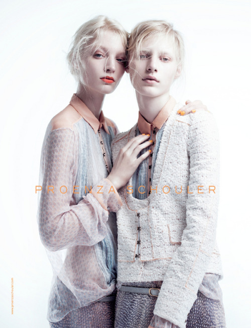 Melissa Tammerijn and Julia Nobis for the Spring 2011 Proenza Schouler campaign.