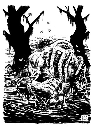 Man-Thing. Rich Ellis's Thunderbolts week contribution. Brush, ink and crowquill on strathmore bristol. The original art is available at Periscope Studio's Etsy store.
