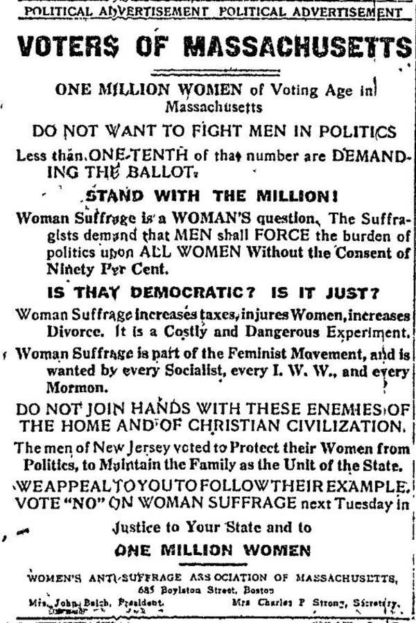 I briefly mentioned the suffrage issue in a previous blog post, but I thought this might be found interesting… it's UNGODLY relevant to today's politics.