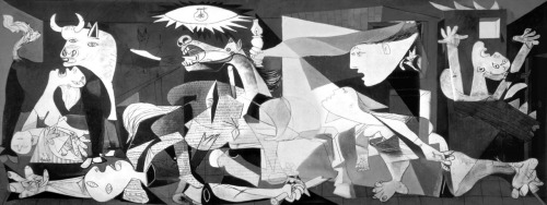 "Pablo Picasso. Guernica, 1937. oil on canvas, 35.1×78.2 cm ""No, painting is not done to decorate apartments. It is an instrument of war for attack and defense against the enemy."" — Picasso about Guernica, Statement, in Chipp, Theories of Modern Art [fr]"