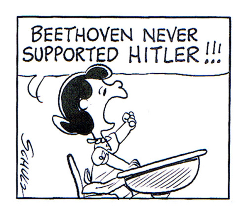 Beethoven never supported Hitler!!! #truefact Scanned from the Chip Kidd assembled Peanuts: The Art of Charles M. Schulz (Pantheon Books/2001).