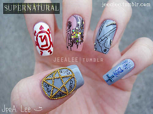 Supernatural NailsA Tribute To One Of My Favorite Shows (Again :P)