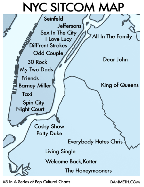 laughingsquid:  NYC Sitcom Map