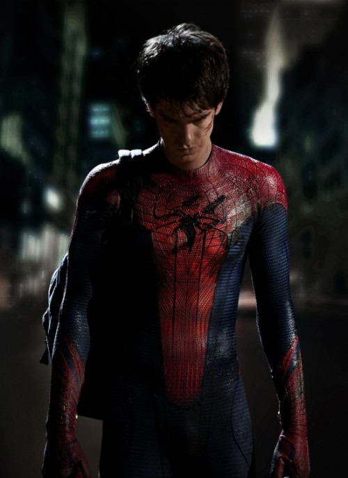 Andrew Garfield, one of the stars of The Social Network is THE NEXT SPIDERMAN! First official photo of him wearing the costume. What do you think guys? I'm kind of excited that there's going to be a reboot but I don't know why they have to do it so early. Marc Webb is directing and so far he has showed his awesomeness in 500 Days of Summer. But can he do action? I'm excited and apprehensive at the same time! After watching The Social Network, I absolutely thought that Andrew was fit for Peter Parker. I do love this costume too better than Sam Raimi's Spiderman. Andrew's not that buff but it's just right, right?  Slashfilm also is speculating and discussing clues based from the costume. What storyline are they going for? The comments also are fun to read so head over to Slashfilm!     OK, we're going to dive into speculative minutia here. If you're not into the tiny details of costume obsession, just move on. Just a couple hours ago we got the first photo ofAndrew Garfield wearing the new Spider-Man costume for the film that Marc Webb is directing now. And one of the little details was noticed by JoBlo — on the inside of Spidey's wrists are what appear to be web-shooters. So what does that mean? In the original comics, Peter Parker was a science whiz. His ability to shoot webs wasn't an organic product of the spider bite that gave him powers. It was a bit of tech of his own invention, and he had little pads in his palms with web fluid cannisters strapped to his wrists. In the movies, however, the webs were an organic thing — all part of the condensed allegory more directly equating the Spider-Man ego to adolescence and maturity. (In the comics, the organic web-shooting came later, with the introduction of the black alien symbiote costume.) And there were those who wondered how a high-school kid made web-shooters in the first place. But that was a detail I always loved, so I can roll with it. I like this first photo because it looks very classic. This is a long, lean Spider-Man, and the costume looks like one he could have made himself than the Raimi version did. And if there are web shooters in there, I'll be a nice detail for the old-school fans, and another point of differentiation between the previous movies. That means we'll probably see his web run dry at a crucial time…perhaps leading to the ass-kicked face Mr. Garfield seems to be wearing. Or it could just be a nice little point that will be mentioned early and never expanded upon, which will be fine, too. Or, is his dejected expression in this image the result of discovering that his early actions as Spider-Man were directly related to the death of Uncle Ben? I'd initially thought of this pose in light of the classic 'Spider-Man No More' cover, but then realized that was just a reflection of one of Steve Ditko's earliest depictions of the character, when he realizes how his actions led to Ben's death.