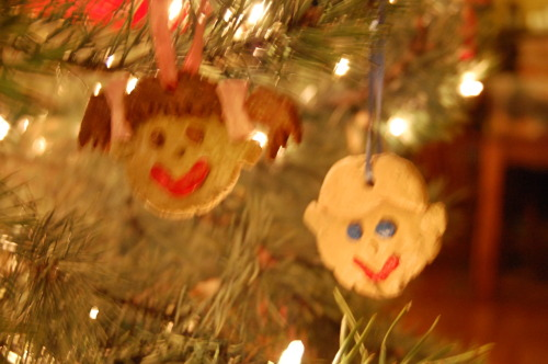 Salt dough ornaments ~ A silly little gift I made for my sister. Those are exact replicas of her kids. Or… something like that.