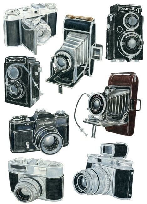 katespadeny:  theclotheshorse:  8 Voigtlander Camera Drawings Limited Edition Print by CB78  would trade our digital cameras for one of these any day of the week.