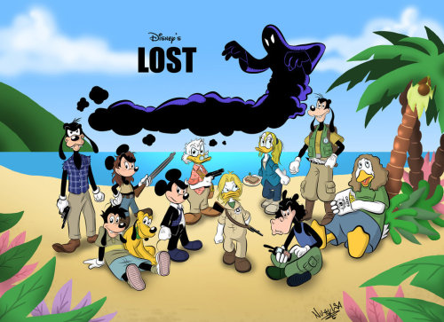 """Lost"" a lo Disney. zuppadivetro: fumettidisney: duckburg: Real fun Disney/Lost amalgamation fanart by the extremely talented and fellow Scrooge-fan, NuttyIsa."