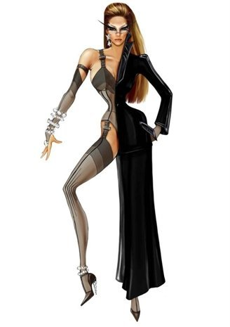 "Thierry Mugler for Beyonce Her planned outfit for the song ""Sweet Dreams (Beautiful Nightmare)"" for her ""I Am… World Tour"" Mugler saw the dual concept of a Dream/Nightmare thus the split costume, and incorporated sleep elements like the lingerie and the mask."
