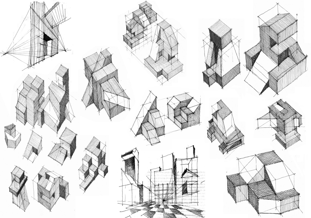BLACK & WHITE SKETCHES | 078 drawingarchitecture:  FORMS by massimiliano zigoi