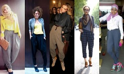 Harem pants were made popular by western celebrity M.C Hammer in 1980's. They have a drop crotch, wide on the hips and cuts slightly straight down to the ankle. There are many versions of harem pants but the ones shown in the pictures are quite appropriate for a hijab clad lady. A more exxagurated version of harem pants can be seen here at Hijab Scarf where the crotch falls down almost to the ankle and makes a child of a long skirt mixed with baggy pants. As the pants is already quite unique, pair it with simple tops under a jacket or blazer. Accesorize with heels or boots to create a long limbed look. (via SPTNKSWTHRT)
