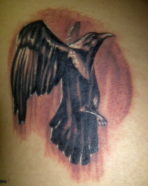Hello! I would like to introduce you to my new tattoo! I got it done last night at Old London Road Tattoos ( http://www.oldlondonroad.co.uk/ / http://www.facebook.com/profile.php?id=1388305104&sk=wall ) in Kingston by Jan Atslega! It was my first tattoo since my 21st birthday in July 2009 when I got my teapot, and it is my 26th tattoo! I LOVE it! It's so beaut and Jan has possibly the lightest touch I've had since Vicky Morgan did my sharkie! ( http://www.bodycrafttattoo.com/ / http://www.myspace.com/zombiebie ) And I think I sat through it pretty well :) Read a book whilst listening to Jan's foreign metal music ha! And he kept asking me if I was ok cos I sat through it so quietly and said usually people moan and move about but I stayed completely still and just shut up and let him get on with it :) I am actually in love with it!