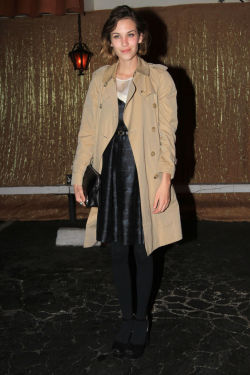 Dress: Orla Kiely Coat: Burberry Shoes: Prada Necklace: Tiffany's