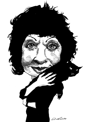 "I love this David Levine illustration of Muriel Spark holding a wicked black cat. It really evokes the wit and brutal perception that made some of her detractors so anxious. Spark really was a little witchy, in the best way. Her ""perfect"" cat — and only trusted critic — was a Persian, ""a gifted clairvoyante [who] would sit on my notebooks if what I had written was all right."" From her 18th(!) novel, A Far Cry from Kensington:  [I]f you want to concentrate deeply on some problem, and especially some piece of writing or paper-work, you should acquire a cat. Alone with the cat in the room where you work, I explained, the cat will invariably get up on your desk and settle placidly under the desk-lamp. The light from a lamp, I explained, gives a cat great satisfaction. The cat will settle down and be serene, with a serenity that passes all understanding. And the tranquillity of the cat will gradually come to affect you, sitting there at your desk, so that all the excitable qualities that impede your concentration compose themselves and give your mind back the self-command it has lost. You need not watch the cat all the time. Its presence alone is enough. The effect of a cat on your concentration is remarkable, very mysterious."