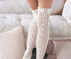 knittinginthered:  Lace Knit Stocking. Want to make these so bad! Going to research pattern on Ravelry.