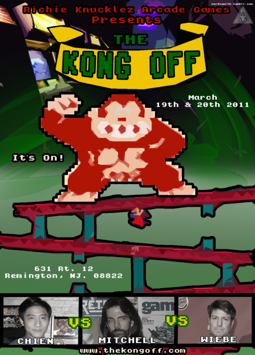 Made a flyer For the Kong Off Competition coming up in March. The match is set to be between Steve Wiebe, Billy Mitchell, and Hank Chien. This is Really Just a result of Over Achieving for something else I was working on.