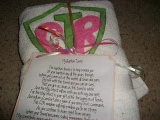 LOVE this baptism towel!  What a great gift idea!!!  ~  La-DEE-Da Creations: Baptism towel