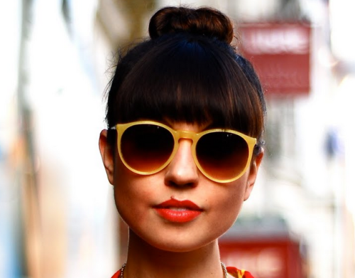 yellow sunglasses red lips cute bun adorable face quite lovely beautiful sunny sunday afternoons