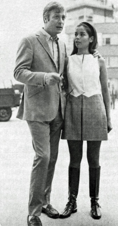 "oldloves:  Michael Caine & Bianca Jagger circa 1968 ""At 15, headstrong Bianca won a scholarship to the Institut d'Etudes Politiques in Paris, where her uncle was cultural attaché Bianca reports proudly, ""I studied hard and remained a virgin till 18½."" Her ""almost first lover"" was actor Michael Caine (whom she met through his tailor who happened to be making a suit for her), and she moved to England with him. ""Caine was unkind, superficial and kept me like I was his geisha,"" she recalls. Michael, more generous in his recollections, found Bianca ""one of the most intelligent girls in town."" At 20, she left him for French record mogul Eddie Barclay."" (People)"