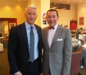 Pee-wee dropped by Time Warner Center today to tape an interview with Anderson Cooper. Check the interview out tonight on CNN at 10pm EST.