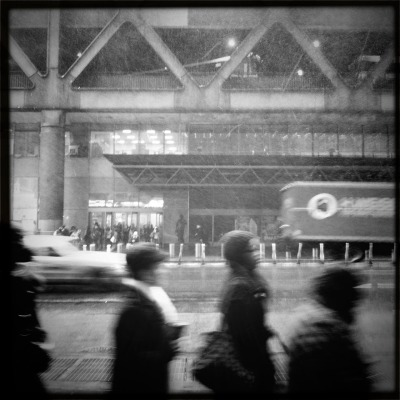 Snowing at Port Authority Roboto Glitter Lens, BlacKeys SuperGrain Film, No Flash, Taken with Hipstamatic