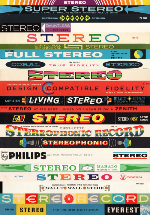 "Stereo Stack - truly is ""A kaleidoscopic-wonderland of hi-fidelity and dual-dynamic vibrancy"". A hypnotic collection of those ""stereo"" labels that appeared on vinyl album covers (via espop) What's this to do with ukuleles? See? Right there — ""Mahalo — recorded in Hawaii"" that's enough for me!"