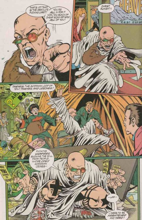 """Thieves and leeches!"" - Transmetropolitan ""God Riding Shotgun"" #6 - art by Darick Robertson. 1997-2002. Click the image for a super large version. This reminds that I must revisit my Transmet collection. Submitted by Garrett C."
