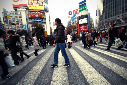 Shibuya crossing. If you could pick a favourite crossing in the world I guess I would have to pick this one, in the heart of Tokyo. An always crowded place and great for people watching. It has been featured in media quite a lot, e.g. in the Lost in Translation and the music video for Read my Mind by the Killers.