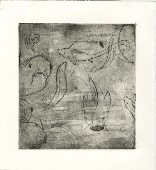 Koifish. 2009. Etching  Early Etching. this was the second one. I was never too happy with it. I'm thinking after all of this thesis business is done i'm going to fix and make this plate awesome.