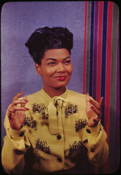jjlouis:  Pearl Bailey (1918-1990), American actress and singer. She won a Tony Award for the title role in the all-black production of Hello, Dolly! Photographed in New York, 1946 Part of Color Slides of Blacks by Carl Van Vechten, archived by The Beineke Rare Book & Manuscript Library at Yale University