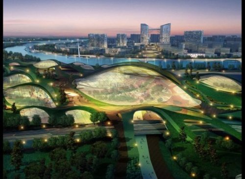 rebeccam:  Tianjin Eco-City in China Tianjin Eco-City is a fascinating, 30 square kilometer development designed to showcase the hottest new green technologies and to serve as a model for future developing Chinese cities. Designed by Surbana Urban Planning Group, the city is being built just 10 minutes away from the business parks at the Tianjin Economic-Development Area, making for a commute that should be a breeze with the development's advanced light rail transit system. Even cooler, the community's expected 350,000 residents will be able to choose different landscapes ranging from a sun-powered solarscape to a greenery-clad earthscape to enjoy.