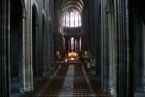 Nave of the Clermont-Ferrand Cathedral, Clermont-Ferrand, Auvergne, France.