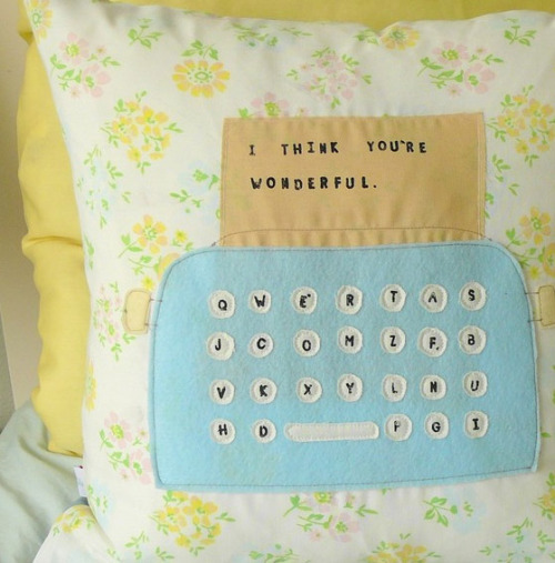 papernpens:  I Typed You a Message pillow by Olive on Etsy